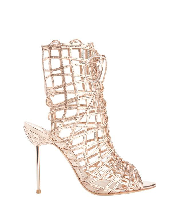 Sophia Webster Delphine Strappy Cage Metallic Sandals