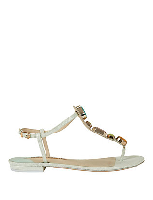 Sophia Webster Lily Leather Gem Thong Flat Sandal