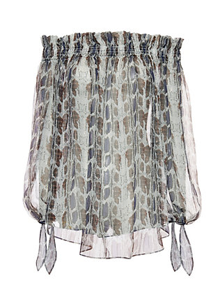 Caroline Constas EXCLUSIVE Lou Off The Shoulder Snakeskin Print Blouse