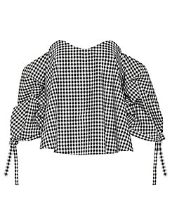 Caroline Constas Off The Shoulder Check Pattern Blouse