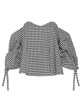 Caroline Constas Gabriella Off Shoulder Gingham Bustier Top