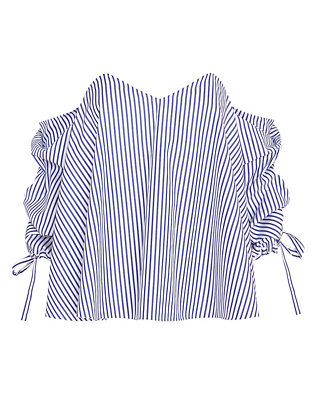 Caroline Constas EXCLUSIVE Striped Poplin Off The Shoulder Blouse