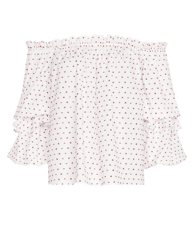Caroline Constas EXCLUSIVE Gia Dot Ruffle Top