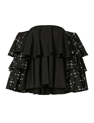 Caroline Constas Carmen Ruffled Sleeve Embroidery Top