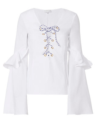Caroline Constas Anastasia Lace-Up Blouse