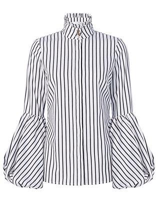 Jaqueline Striped Blouson Sleeve Shirt