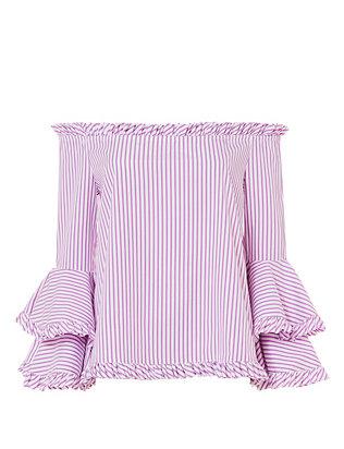 Tina Ruffle Stripe Shirt