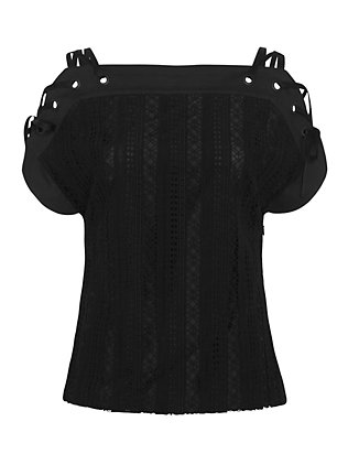 Thakoon Shoulder Tie Lace Top: Black