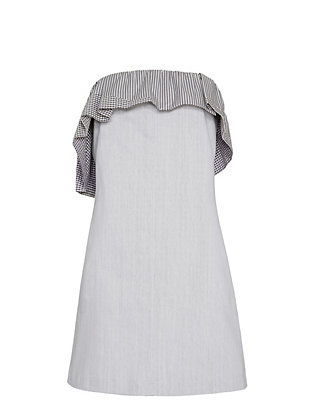 Thakoon Ruffled Denim Strapless Dress