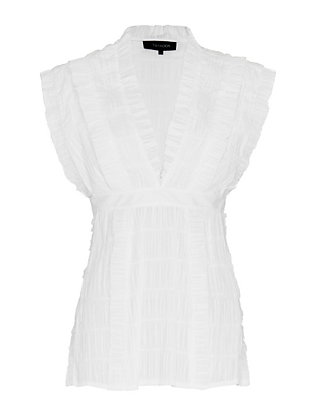 Thakoon Pleated Side Slit Top: White