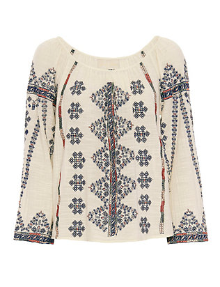 Love Sam EXCLUSIVE Embroidered Gauzy Cotton Top