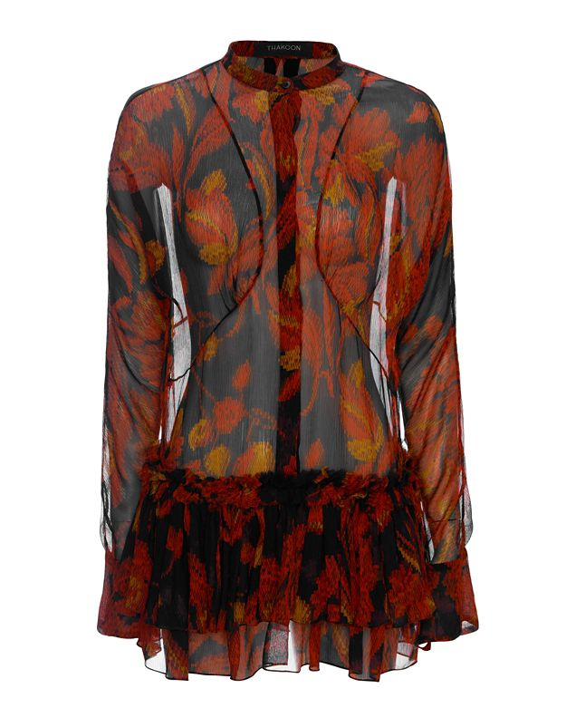 Thakoon Long Sleeve Peplum Print Blouse