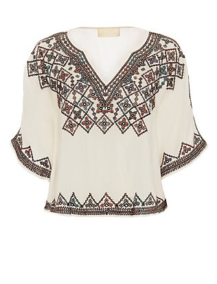 Love Sam EXCLUSIVE Embroidered Caftan Top