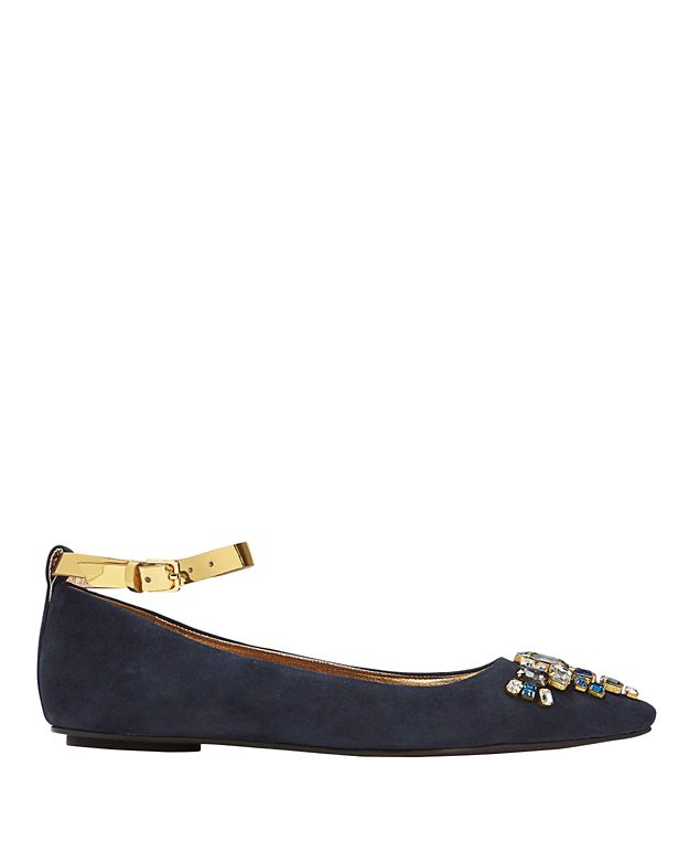 Sanchita Bejeweled Pointy Toe Suede Flat: Navy