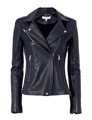 IRO Tara Leather Moto Jacket: Navy