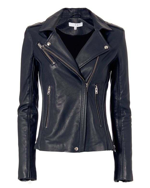 IRO EXCLUSIVE Tara Leather Moto Jacket: Navy