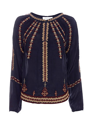 Love Sam Embroidered Blouse: Navy