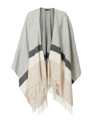Luisa Brini EXCLUSIVE Technica Striped Fringe Poncho Scarf