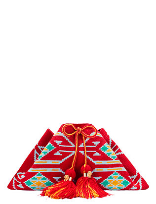 The Way U Teresa Tribal Pattern Tassel Clutch: Red