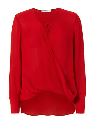 Cross Front Blouse: Red