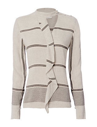 Derek Lam 10 Crosby Striped Ruffle Shirt