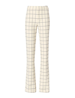 Derek Lam 10 Crosby Ivory Plaid Flare Trouser
