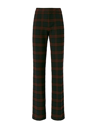 Burgundy Plaid Flare Trousers