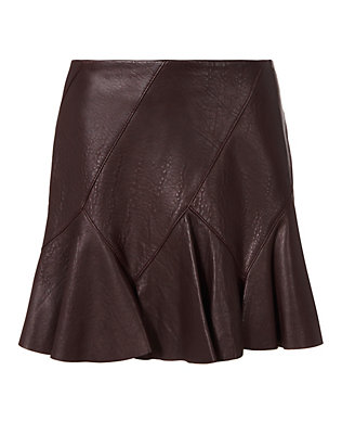Derek Lam 10 Crosby Flared Leather Mini Skirt: Merlot