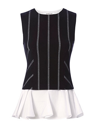 2 in 1 Pinstripe Peplum Top