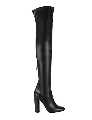 Thigh-High Stretch Leather Boots: Black