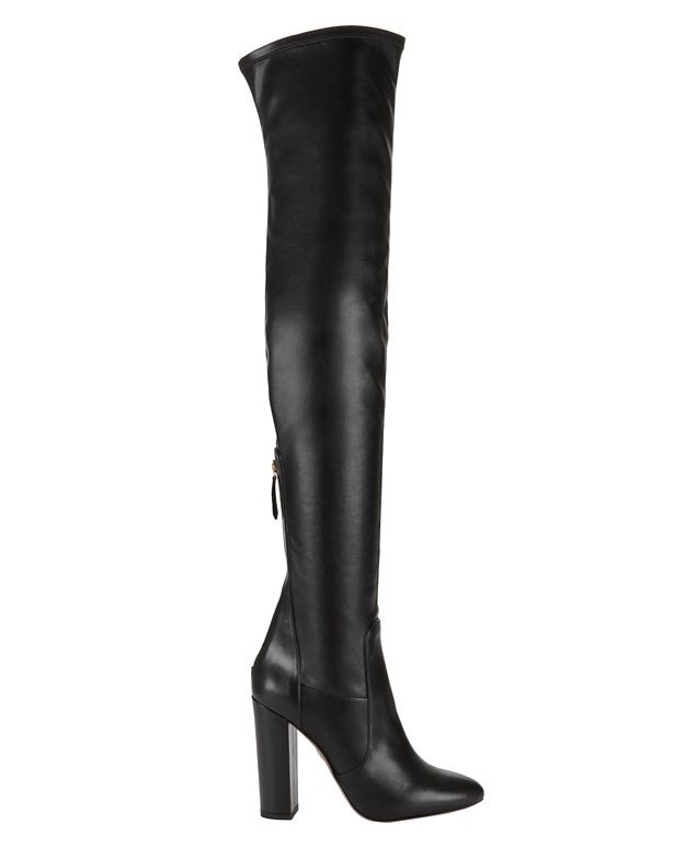 Aquazzura Thigh-High Stretch Leather Boot: Black