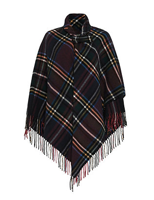 Luisa Brini Collared Plaid Poncho