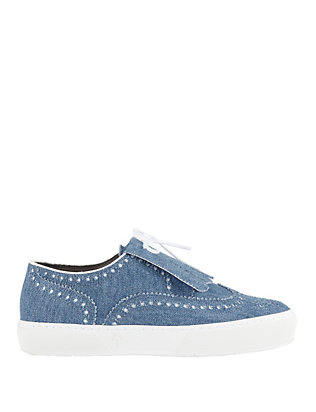 Robert Clergerie Tolka Kiltie Denim Brogue Sneakers