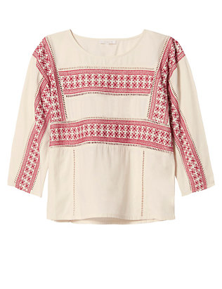 Intropia Boxy Embroidered Top