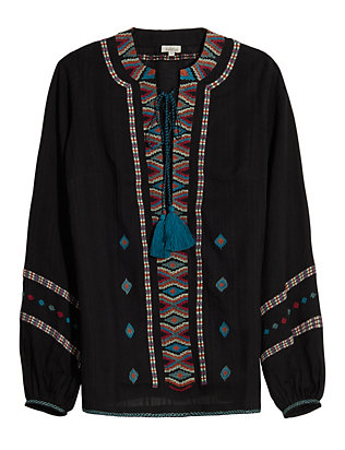 Lace-Up Tribal Trim Top