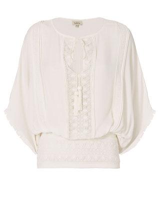 Draped Sleeve Blouse: Ivory