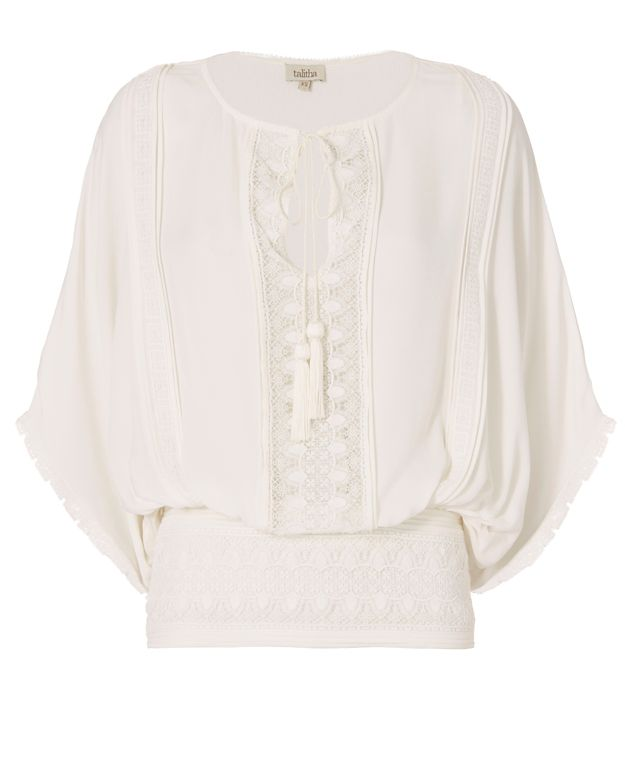 Talitha Draped Sleeve Blouse: Ivory