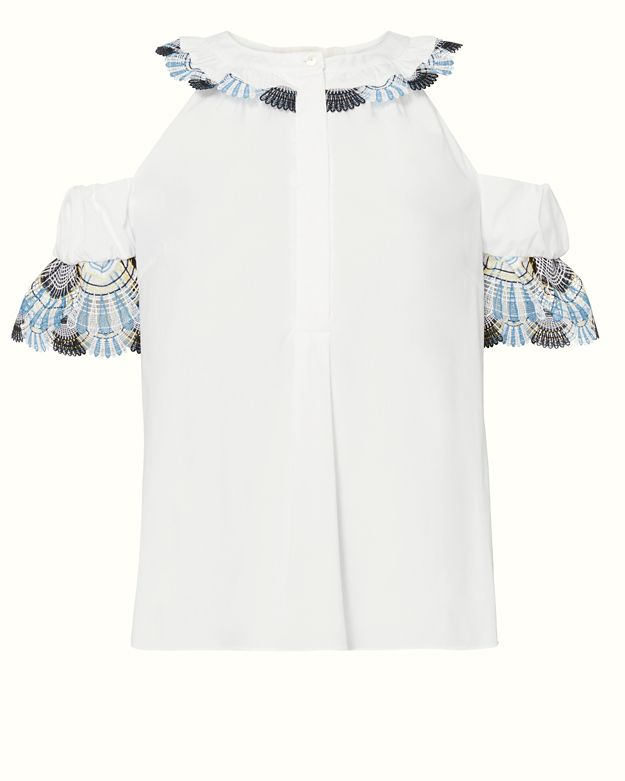 Peter Pilotto Open Shoulder Cotton Lace Shirt