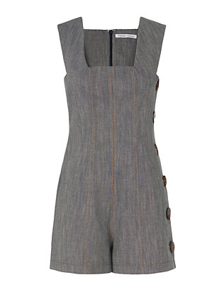 Square Neck Denim Romper