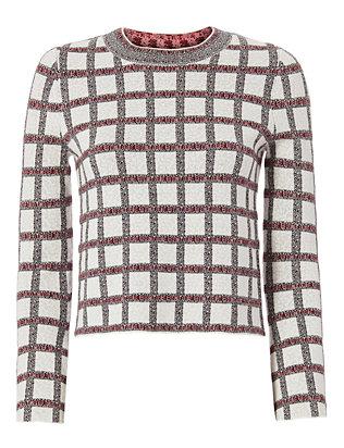 Plaid Knit Crop Top