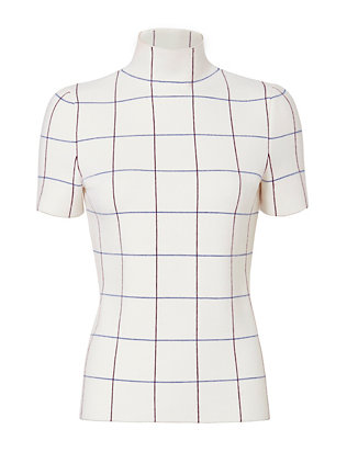 Victoria Beckham Check Mock Neck Top