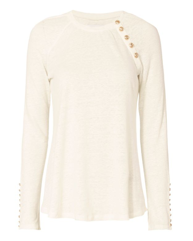 Derek Lam 10 Crosby Long Sleeve With Gold Button Detail