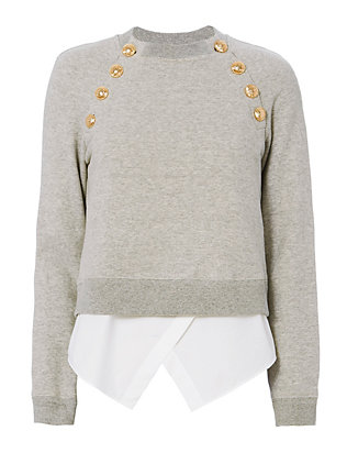 Derek Lam 10 Crosby 2 in 1 Gold Button Sweatshirt