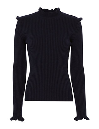 Fitted Ruffle Rib Turtleneck