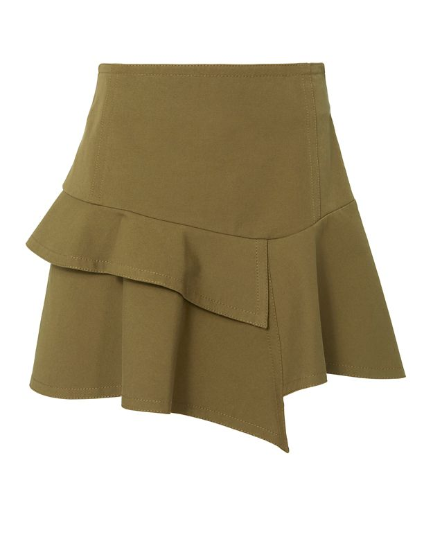 Derek Lam 10 Crosby Asymmetric Ruffle Mini Skirt