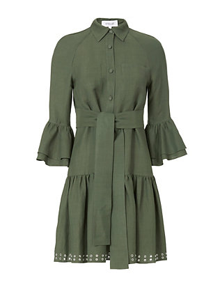Grommet-Hem Flounced Shirtdress