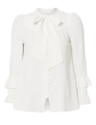 Pleated Cuff Button Placket Blouse