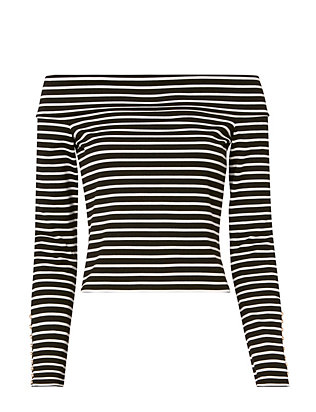 Derek Lam 10 Crosby Stripe Button Cuff Crop Top