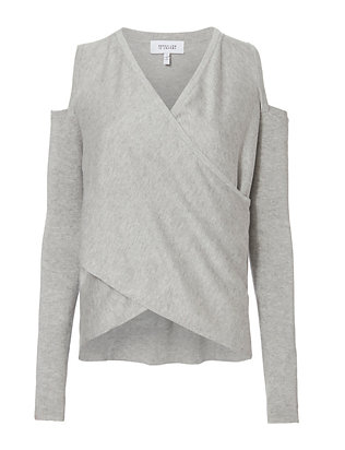 Derek Lam 10 Crosby Cold Shoulder Grey Sweater