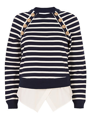 Striped Sweatshirt With Button Detail
